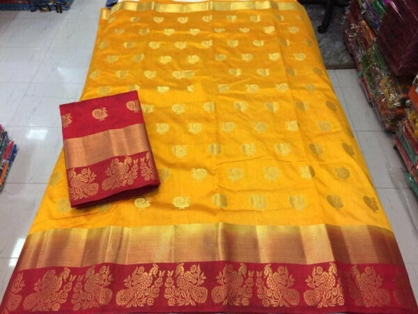 Captivating Mustard & Maroon Silk With All Over Butti Saree