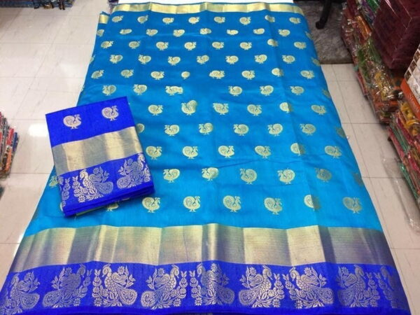 Alluring Firozi & Royal Blue Silk With All Over Butti Saree
