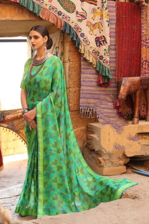 Knockout Green Printed Brasso Saree