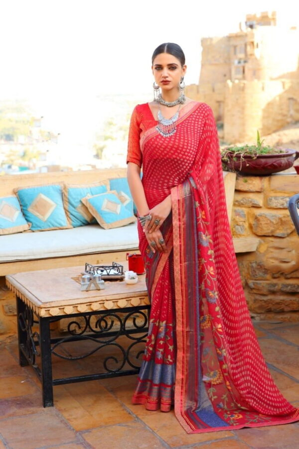 Remarkable Red Brasso Printed Saree