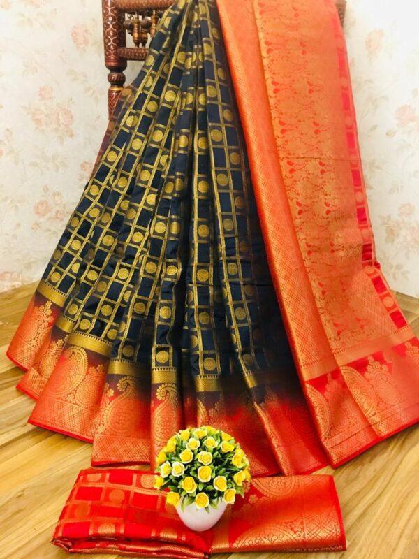 Impressive Black Nylon Silk With All Over Zari Saree