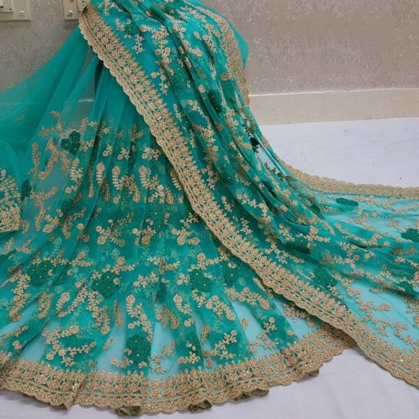 Splendid Rama Nylon Net With Embroidered Work Saree