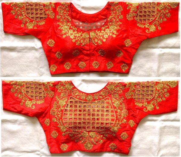 Fantastic Orange Fentam Silk Thread Work Ready Made Blouse