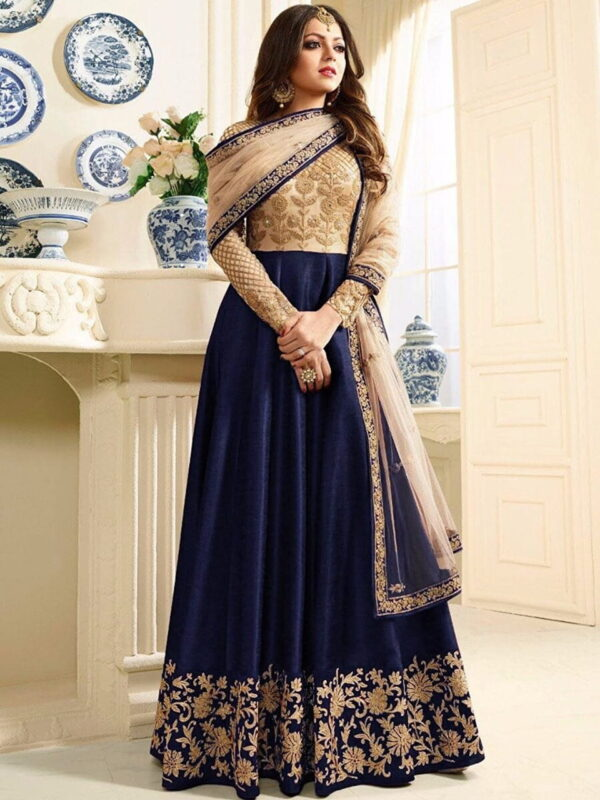 Comely Blue Net Silk With Embroidered Work Salwar Suit
