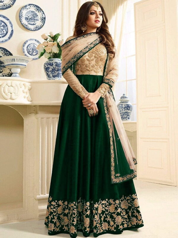 Pretty Green Silk Net With Embroidered Work Salwar Suit