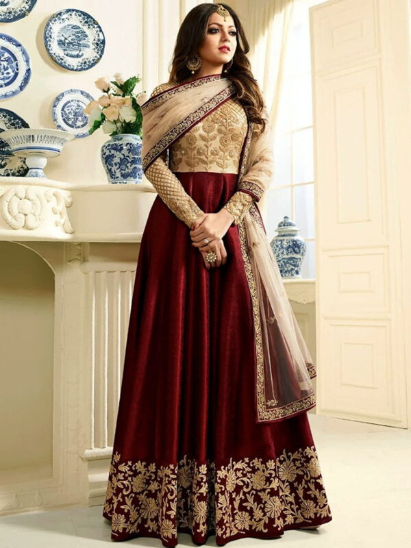 Sensational Red Silk Net With Embroidered Work Salwar Suit