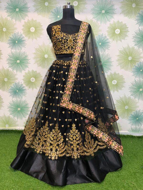 Charming Black Net With Zari Embroidered Work Lehenga Choli