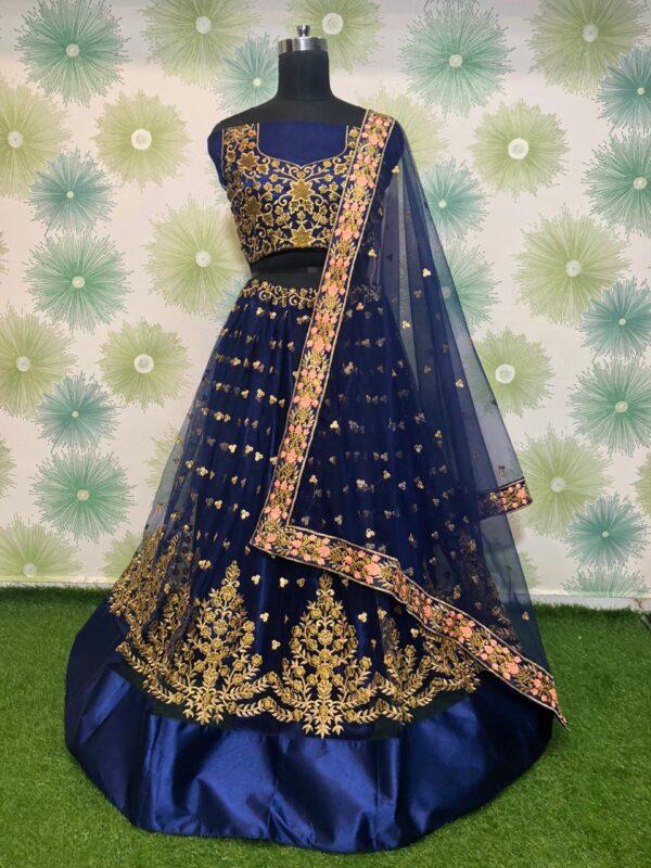 Gorgeous Navy Blue Net With Embroidered Work Lehenga Choli