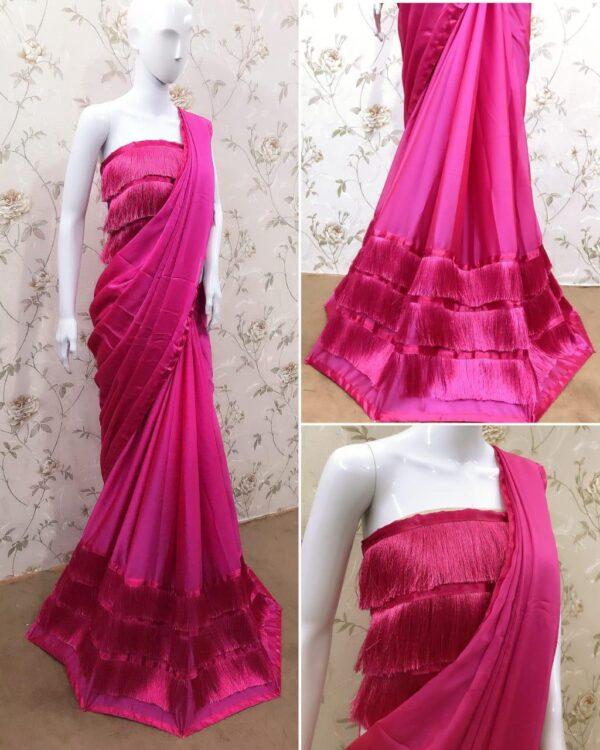 Pulchritudinous Pink Three Layered Ruffle Georgette Thread Lace Saree