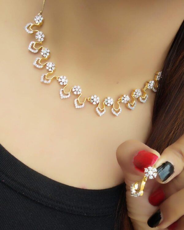 Staggering White American Diamond Golden Necklace Set
