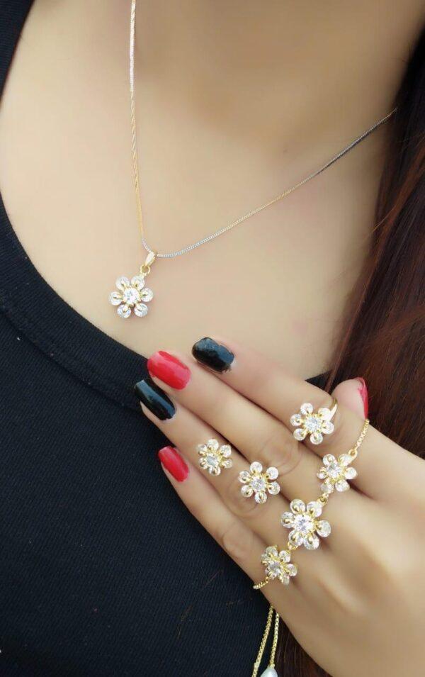 Impressive White Diamond Golden Imitation Necklace Set