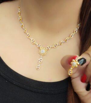 Amazing Golden Imitation White Diamond Necklace Set