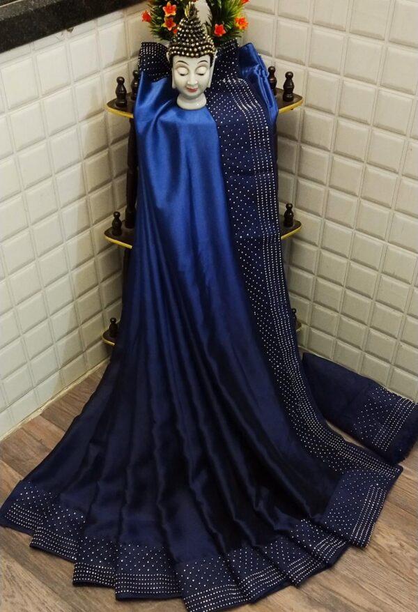 Astonishing Navy Blue Satin Silk With Stone Work Border Saree
