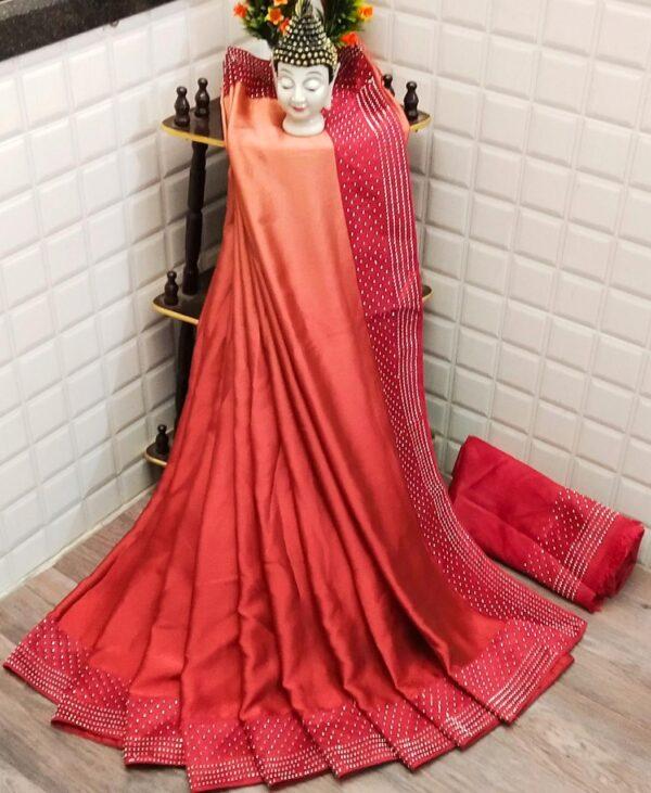 Marvellous Orange Satin Silk With Stone Work Border Saree