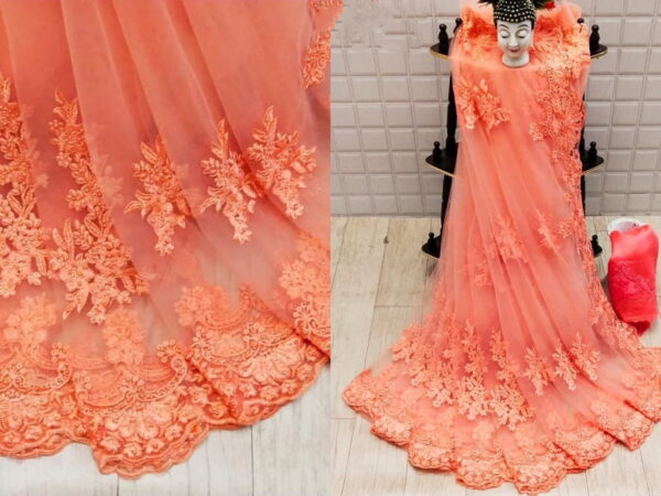 Lovely Prominent Peach Net With Embroidered Diamond Work Saree