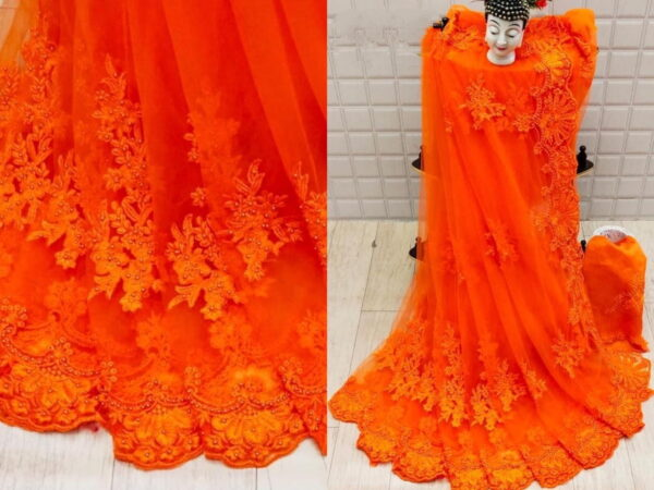Pretty Orange Net With Embroidered Diamond Work Saree