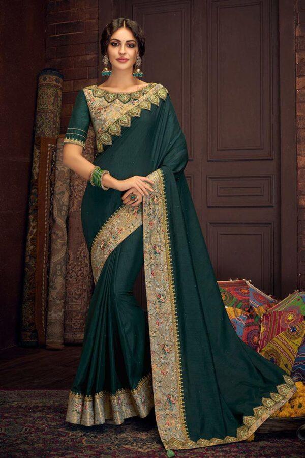 Sensational Rama Green Silk Jacquard Printed Saree