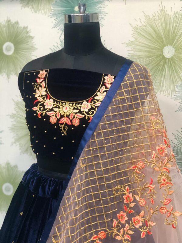 Radiant Navy Blue Velvet Zari Embroidered Motti Work Lehenga Choli