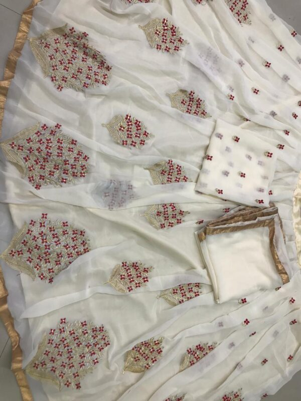 Ravishing Off White Georgette With Embroidered Work Lehenga Choli