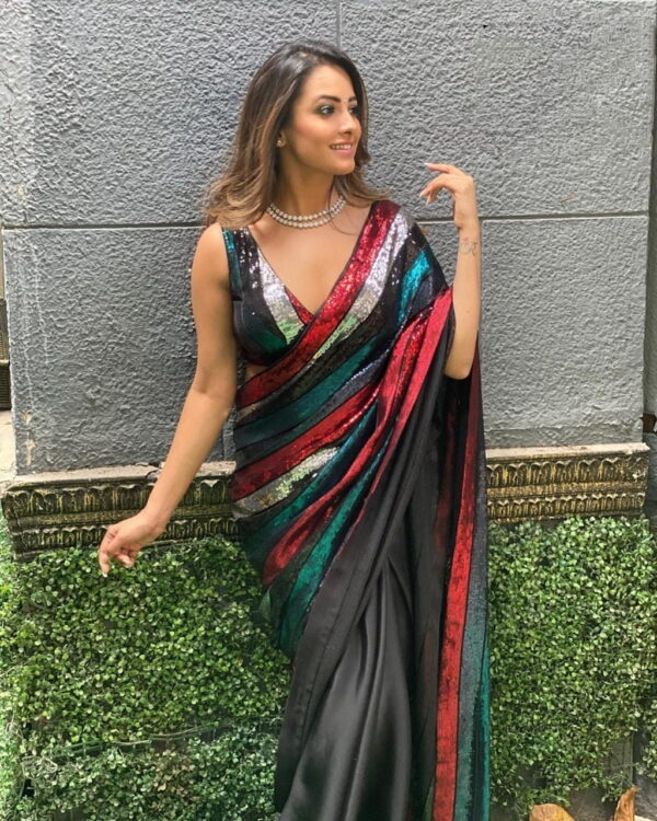 Devastating Georgette With Multi Colored Sequence Work Saree