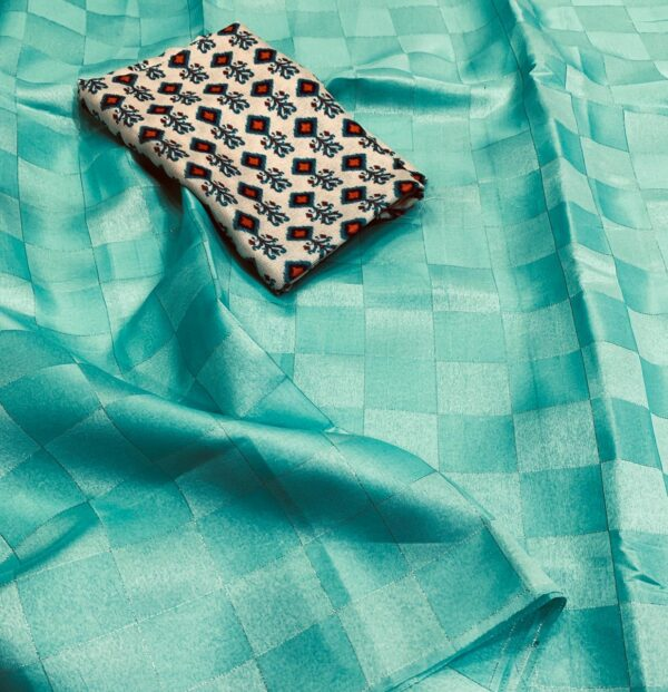 Charming Firozi Tussar Satin Silk Silver Zari Weaving Saree
