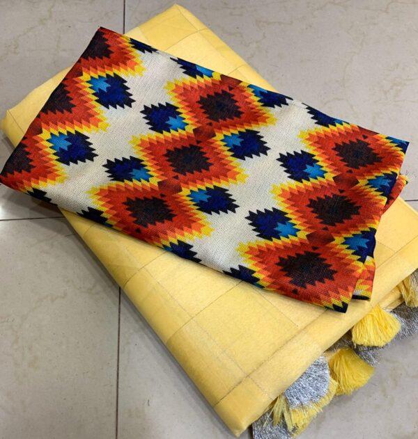 Exquisite Yellow Satin Silk Silver Zari Weaving Saree