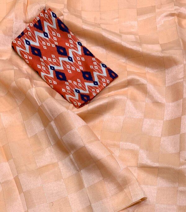 Gorgeous Peach Satin Silk With Silver Zari Weaving Saree