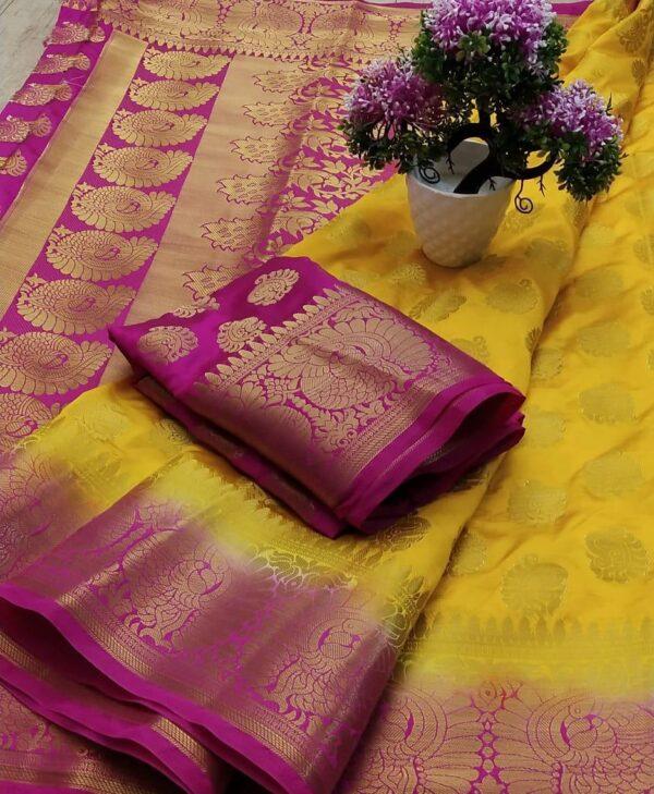 Devastating Yellow & Rani Nylon Silk All Over Zari Design Saree