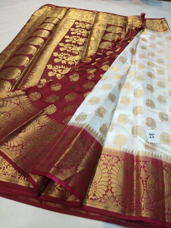 Wonderful Maroon & White Nylon Silk All Over Zari Design Saree