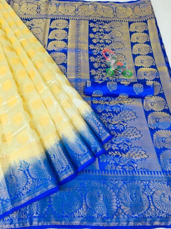 Magnificent Royal Blue & Yellow Nylon Silk All Over Zari Design Saree