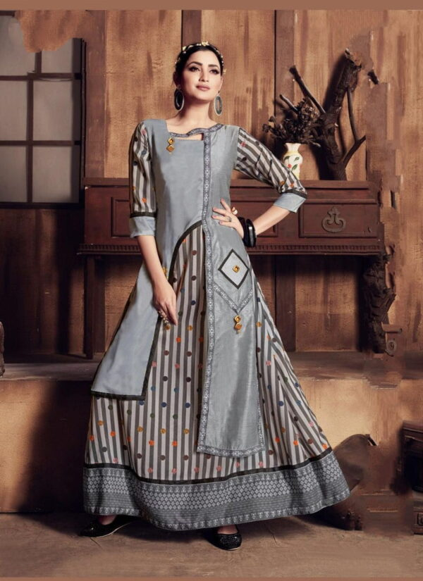 Comely Grey Rayon Digital Printed Gown
