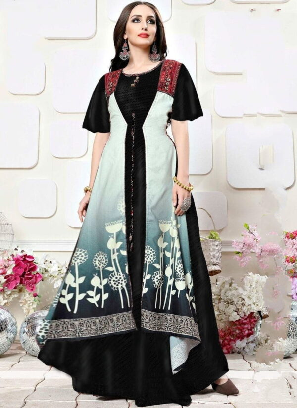 Striking Black Rayon Digital Printed Gown