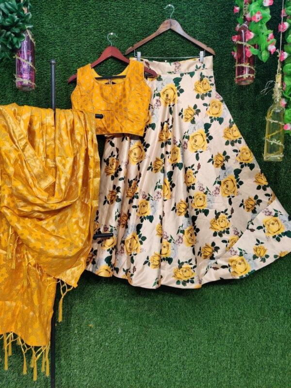 Charming Yellow Silk With Digital Printed Choli