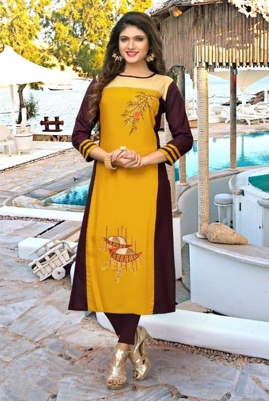Amazing Yellow Rayon Ready Made Embroidered Kurti