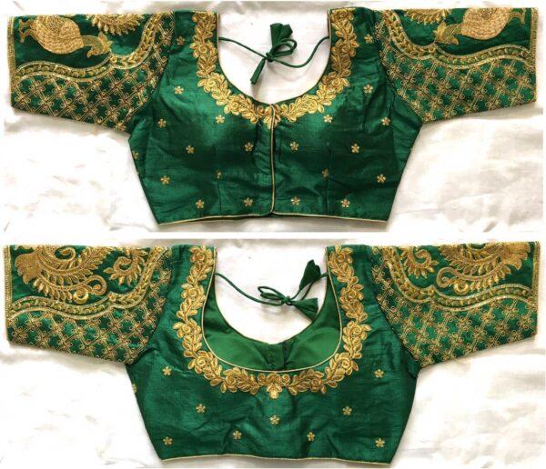 Fabulous Dark Green Fentam Silk With Ready Work Ready Made Blouse