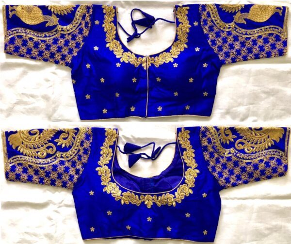 Sensational Royal Blue Silk With Sequence Ready Work Ready Made Blouse
