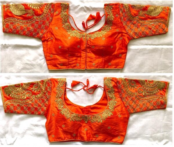 Devastating Orange Silk With Sequence Work Blouse Made Blouse