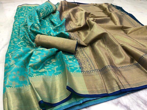 Bewitching Sky Blue Silk With Rich Saree Designer Saree