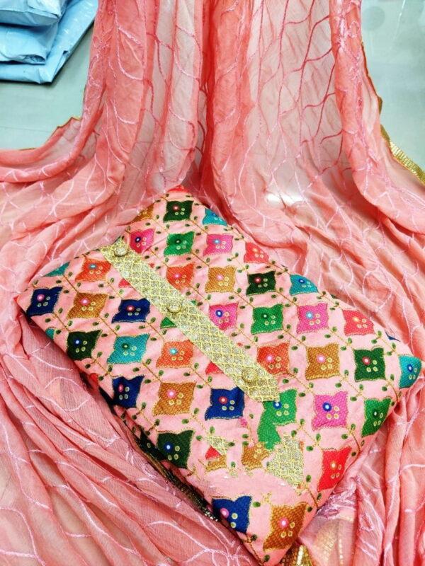 Smashing Peach Fancy Printed Salwar Suit