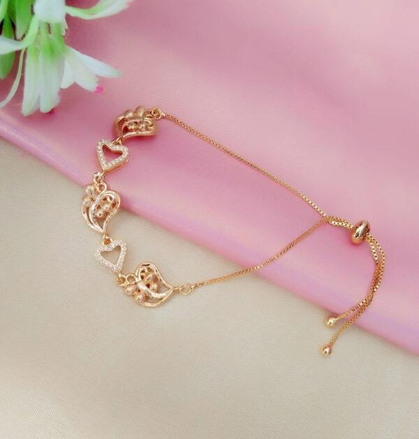 Amazing Golden Artificial White Diamond Bracelet