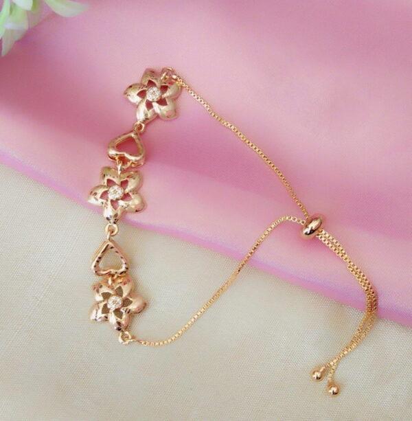 Imposing White Diamond Golden Artificial Bracelet