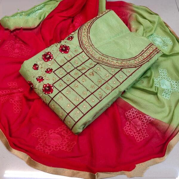 Fab Pista & Red Chanderi Cotton Work Embroidered Work Salwar Suit