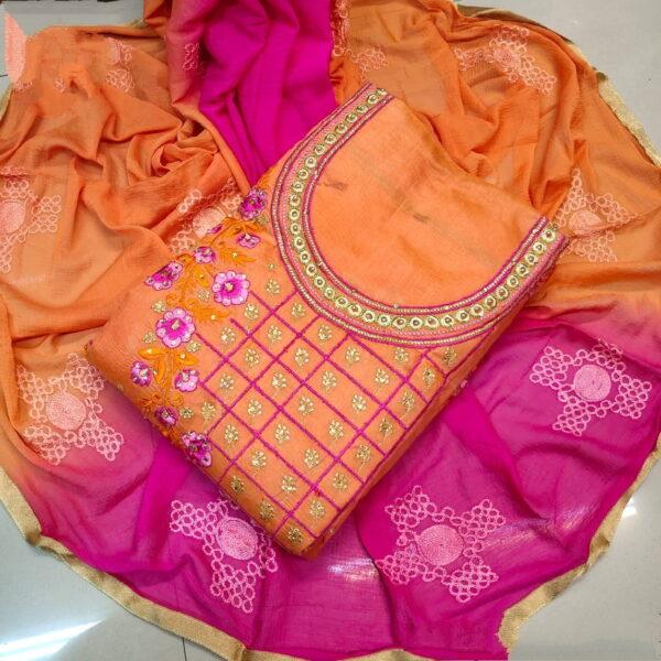Fantastic Orange & Rani Chanderi Cotton Work Embroidered Work Salwar Suit