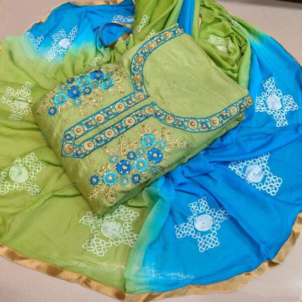 Wondrous Sky Blue & Pista Embroidered Cotton Chanderi Cotton Salwar Suit