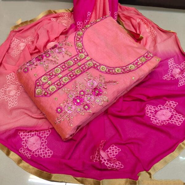Attractive Pink & Rani Chanderi Cotton Work Embroidered Work Salwar Suit