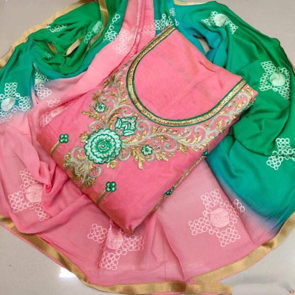 Good-Looking Green & Peach Chanderi Cotton Work Embroidered Work Salwar Suit