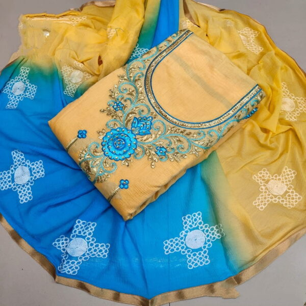 Comely Sky Blue & Yellow Chanderi Work Embroidered Work Salwar Suit