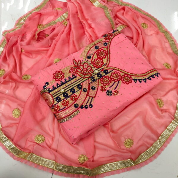 Dazzling Peach Cotton With Embroidered Work Suit
