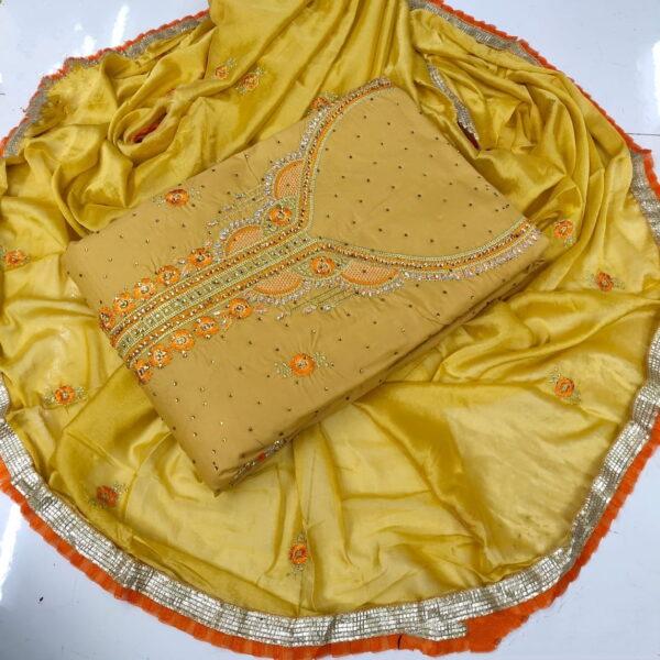 Glorious Chiku & Orange Embroidered Work Suit Salwar Suit