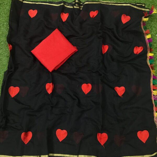 Bewitching Black Chanderi Silk Embroidered Work Saree